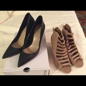 Aldo black pumps & tan sandals